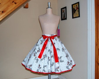 CLEARANCE SALE !!! High waist tee lenght skirt,full circle skirt ,rockabilly skirt.Horses Print Skirt Full Circle Skirt
