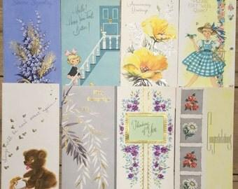 Lot of 8 Vintage Unused 1950's Greeting Cards