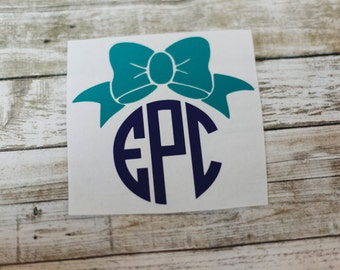 Bow Monogram Decal / Monogram sticker / car monogram / notebook monogram / car decal / preppy monogram / bottle monogram / laptop monogram