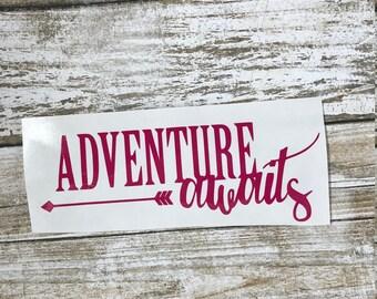 Adventure Awaits decal / adventure awaits sticker / monogram decal / monogram sticker / adventure decal / car monogram / car sticker /