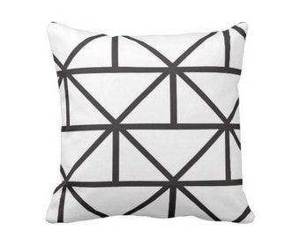 "Geometric Throw Pillow, Modern Black and White Print 16 or 20"" Square OUTDOOR or INDOOR Pillows"