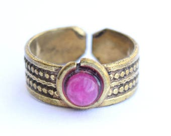 Toe Ring, Brass Toe ring, Ankle Ring, Pink Stone Toe Ring,Finger Ring, Foot jewellery, Gypsy Toe Ring, Tribal Toe Ring