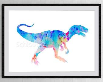 Dinosaur Watercolor Art Print - Tyrannosaurus Rex Dinosaur Art - Wall Decor - Nursery Room - Housewarming Gift Birthday Gift