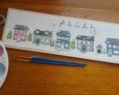 Reserved for H.: Fa la la la la... Cozy Christmas Homes (and dog house) Wood & Acrylic Handprinted sign