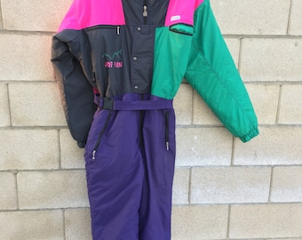 Vintage  Snow Ski Suit Neon 80's 90's Rad Womens 42  Colorful Retro