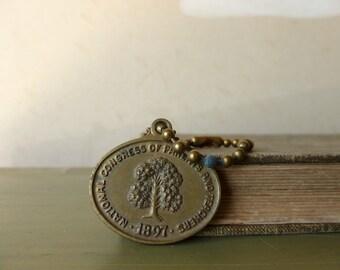 Antique Brass PTA Medal / Parent Teacher Charm / Education Gift