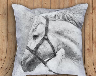 White Horse Equestrian Decorative Accent Throw Pillow with stuffing