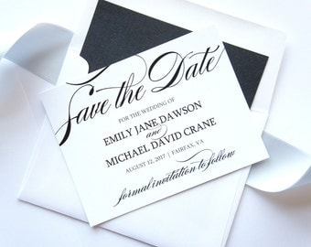 Elegant Save the Date Cards - Formal Save the Date Card, Classy, Shimmer, Script, Black and White, Save the Dates - DEPOSIT