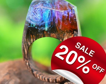 Wind & Fire ( Handmade Wooden Resin Ring. Wood Resin Ring.  Wood jewelry. with Magnificent Tiny Fantasy Landscape )