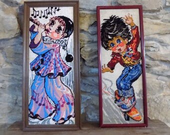 French vintage 70s cute big eyed girl playing flute recorder tapestry