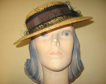 SALE! 1940's-50's Tan Cello Straw Boater with Wonderful Trim!