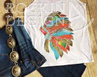 Cheetah and Serape Headdress slouchy tank / graphic tee tank top / turquoise / western / boho / southwestern / cowgirl / rodeo