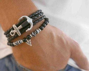 Men's Bracelet Set -  Men's Beaded Bracelet - Men's Leather Bracelet - Men's Anchor Bracelet - Men's Jewelry - Men's Gift - Husband Gift