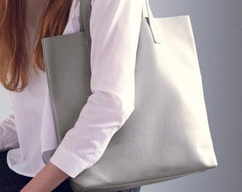 Grey Leather Tote - Light Grey Tote, Light Grey Leather Tote, Women's Leather Bag, Women's Tote, Women's Leather Bag, Italian Leather Bag