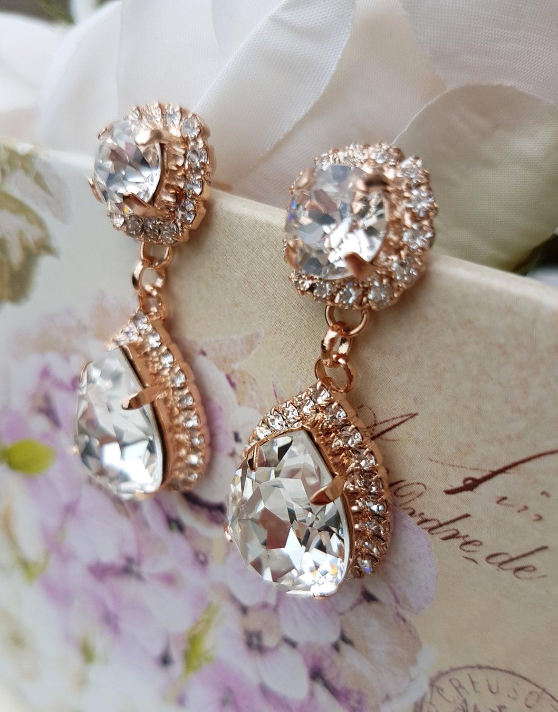 Bridal Earrings, Rose Gold Earrings, Swarovski, Rose Gold Drop Earrings,  Rose Gold Dangle Earrings, Rose Gold, Swarovski Earrings, Carla