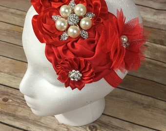 Red over the top flower headband