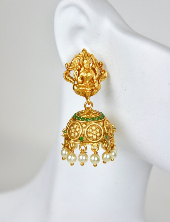 Dainty Antique nagas lakshmi Jhumkis | Indian Jewelry | Indian Earrings | temple jewelry with faux pearls