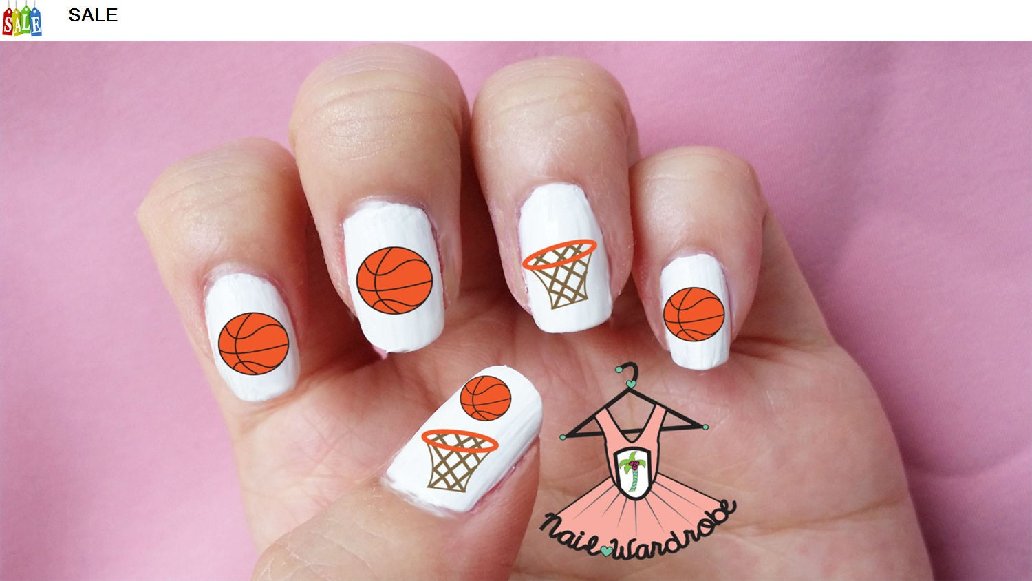 Basketball Nail Decals Waterslide Nail Decal - Basketball nail art - Polish Pals Basketball Nails Tutorial. Polish Pals Basketball