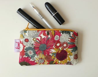 Gift for women Floral Purse Sunflower Gift under 10 Keychain Wallet Small Cosmetic Bag Small Makeup Bag Travel Gifts Cotton Purse Zippy