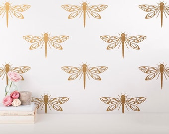 Dragonfly Wall Decals   Modern Wall Stickers, Gold Wall Decals, Dragonfly  Decals, Unique