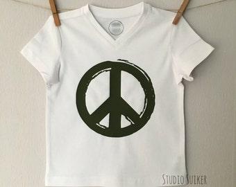 Boys Tshirt, Peace, tshirt with peace sign, boys T, boys clothing, boys outfit