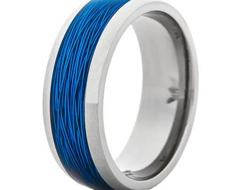 Men's Titanium Wedding Ring with Blue Fishing Wire Inlay