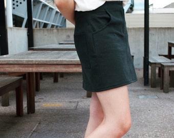Black Denim Skirt - Short Denim Skirt - Black Denim Miniskirt - Classic Denim Skirt - Black Skirt - Straight Skirt - Basic Skirt - Mid Rise