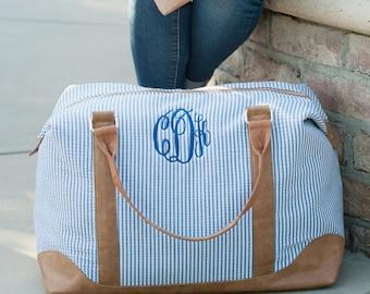 Monogrammed Seersucker Weekender Bag, Personalized Weekender Bag, Overnight Bag