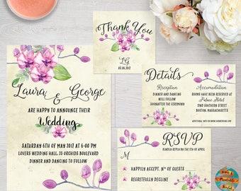 Wedding invitation suite orchids theme, printable, customizable