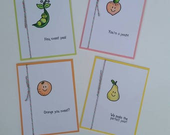 Punny Fruits and Veggies Four Cards Set
