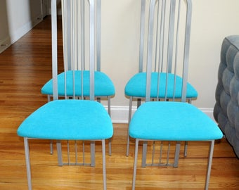 Set of 4 Metal Dining Chairs, Art Deco, Mid Century Modern, Turquoise Upholstery