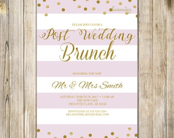 Pink Gold POST WEDDING BRUNCH Invitation, After Wedding The Day After Breakfast Reception Invite, Pink Stripe Rise N Shine Digital Printable