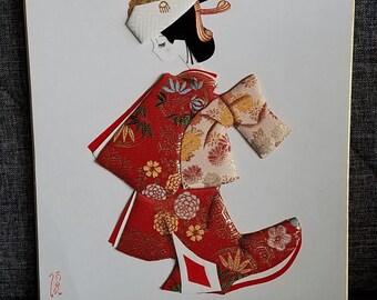 Japanese Geisha Girl 3 D Art Silk Fabric Applique Wall Hanging Wall Art