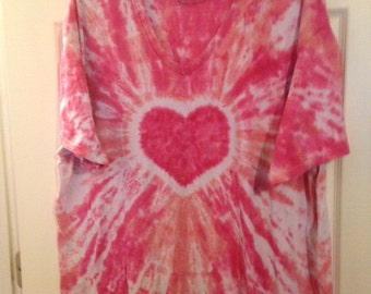 Tie Dyed Pink Heart