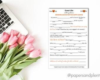 Wedding Guest Mad Libs | Wedding Reception Decor | Wedding Guest Activities - Printable File