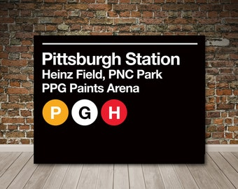 Pittsburgh Pro Sports Venues Subway Sign Gallery Wrapped Canvas