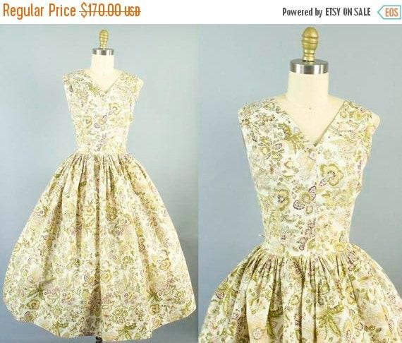 SALE 15% STOREWIDE 1950s floral sundress/ 50s rhinestone cotton dress/ medium