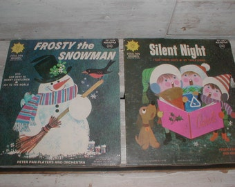 Two Peter Pan Records *Frosty the Snowman*Silent Night* 45 RPM