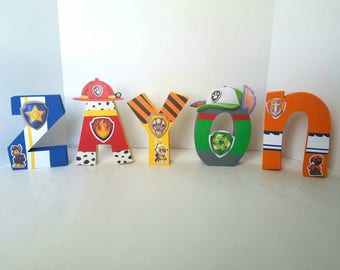 Paw patrol wood name letters - PRICE PER LETTER - paw patrol name - paw patrol party decor - wood name letters - paw patrol decor