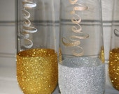 Set of 6 Stemless Champagne Flutes//Glitter Champagne Flutes