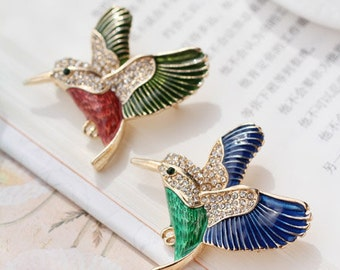 Enamel Bird Brooches,  Diamond Bird Brooches,Pin