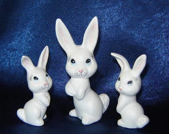 White Bunny Family - Set of Ceramic Rabbits - Ceramic Bunnies - Easter Decorations - Miniature Animals