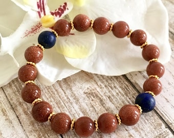 Goldstone Lapis Lazuli Beaded Bracelets, Healing Crystals, Spiritual Jewelry, Gifts for Her, Birthday Gift Ideas, Handcrafted Gifts