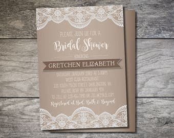 Lace Bridal Shower, Lace Wedding, Printable Bridal Shower Invitation, Lace and Brown Wedding Shower Invite, Ivory Lace, 5x7 Shower Invite