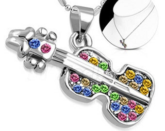 Acoustic Crystal  Guitar Music Necklace