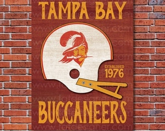 Tampa Bay Buccaneers - Vintage Helmet - Art Print - Perfect for Mancave