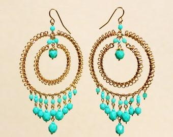 Bohemian Chandelier Hoop Earrings, Turquoise Chandelier Earrings, Turquoise Beaded Earrings, Double Hoop Earrings, Beaded Hoops, Dangle Hoop