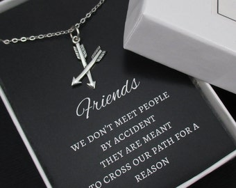 Friendship Necklace, Best Friend Necklace, Crossed Arrows Necklace, Sterling Silver, Arrow Necklace, BFF Gift
