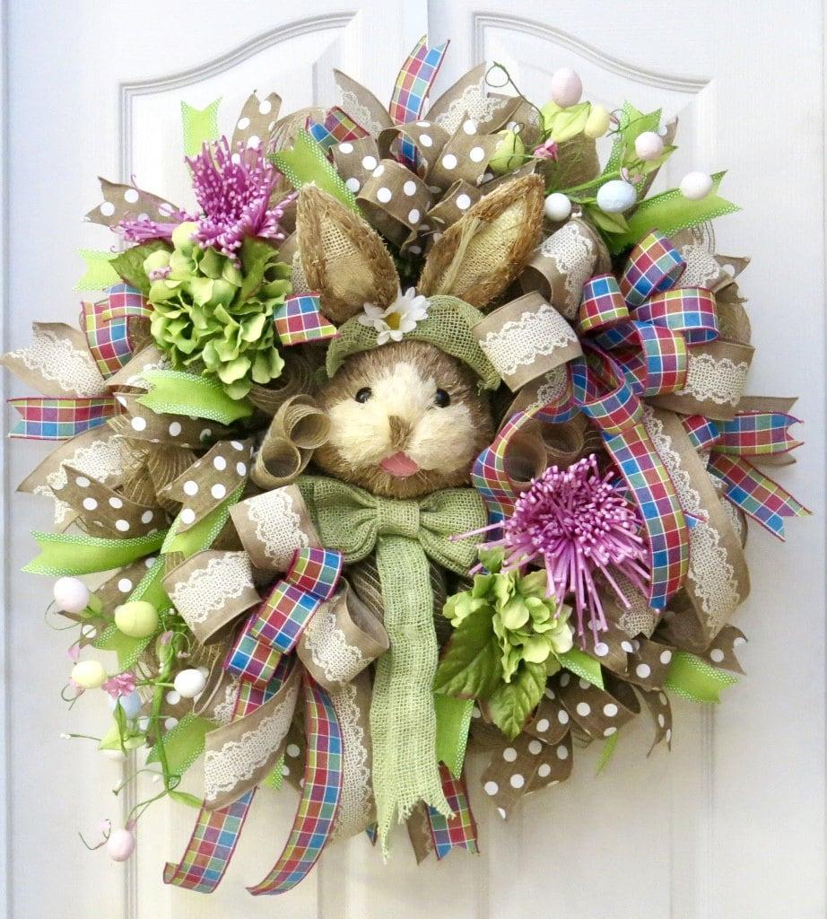 Easter Wreath Easter Bunny Wreath Front Door Wreath Deco