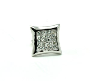 Men's Clear Zircons 10mm Pave Set Screw Back Stud Earring .925 Sterling Silver